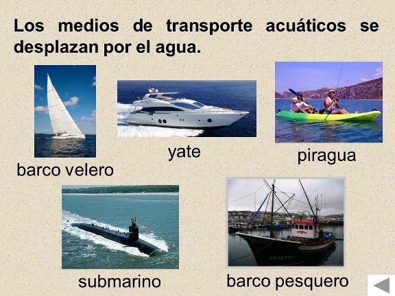 Ejemplos de Medios de transporte acuático