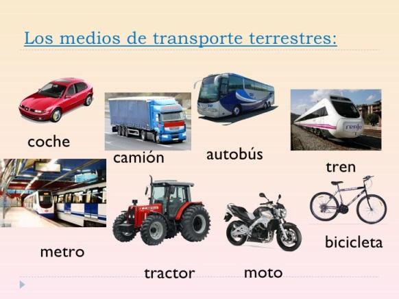 Ejemplos de Medios de transporte terrestre